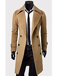 Shangdu Simples Double Breasted Longo Overcoat de lã (Camel)