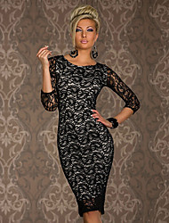 Women's Lace Red/Black Dress , Bodycon/Lace/Sexy Round Neck ½ Length Sleeve Lace
