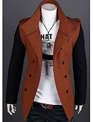Men's Slim Contract Color Trench Coat
