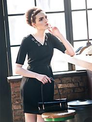 TS Beads V Neck Half Sleeve Puff Dress