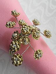 Bloemen Kralen Wedding Servet Ring Set Van 6, glaskralen Dia 4.5cm