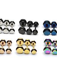 Fashion (Round Shape) Multicolor Titanium Steel Stud Earrings(Silver,Black,Blue,Gold,Rose,Multicolor) (1 Pc)