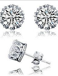 Stud Earrings Zircon Cubic Zirconia Copper Rhinestone Silver Plated Platinum Plated Jewelry Daily Casual 1 pair