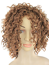 Capless Synthetic Light Brown Short Small Curly Wig
