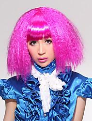 Completa Bangs Puffy Estilo Corn-estigma Carnaval peruca de cabelo curto (rosa)