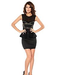 malla de cuello redondo de las mujeres / volante / mini vestido de remache, poliéster negro sexy / partido