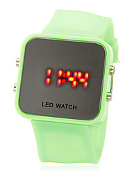 Unisex LED Digital Bright Colorful Square Case Silicone Band Wrist Watch (Assorted Colors)