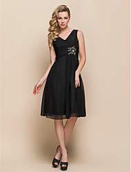 Knee-length V-neck Bridesmaid Dress - Little Black Dress Sleeveless Chiffon