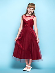 Tea-length Tulle Junior Bridesmaid Dress - Burgundy A-line Scoop