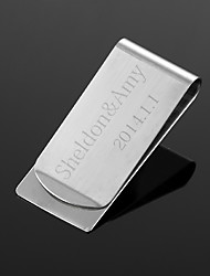 Personalized Gift Silver Metal Money Clip (within 10 characters)