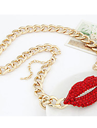 Women's Fashion Gemmy Red Lips Alloy Necklace