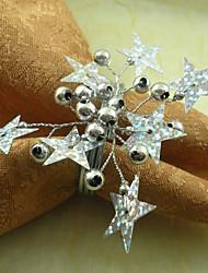 Hochzeits-Sterne Serviettenring Set von 6, Perle Dia 4,5 cm