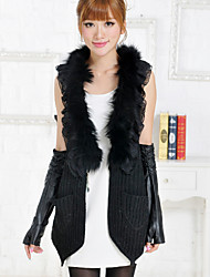 Fur Vest With Sleeveless Shawl Collar Rabbit Fur Party/Casual Vest