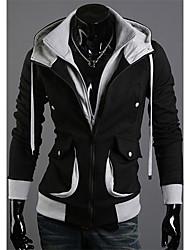Shangdu Contraste de cores com capuz manga comprida (Black)
