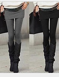 kvinners solid svart / mørk grå to stykke Bodycon slanking stretchy leggings