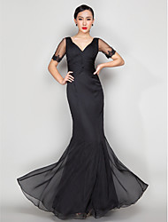 TS Couture® Formal Evening / Military Ball Dress - Elegant Plus Size / Petite Trumpet / Mermaid V-neck Floor-length Chiffon with Appliques / Beading