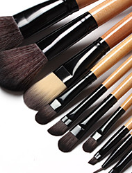 15Pcs Makeup Brush Set Synthetic Hair Natural Timber Handle with Black Leather bag
