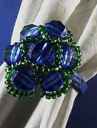 Perles de verre cristal Rond de Serviette Set de 6, acrylique, perles en verre Dia 4.5cm
