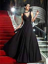 Military Ball/Formal Evening Dress - Black Plus Sizes A-line V-neck Floor-length Jersey