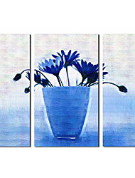 Hand Painted Oil Painting Still Life Blue Petals with Stretched Frame Set of 3