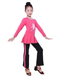 Dancewear Japanese Cotton V Neck Ballroom Dance Dress For Kids