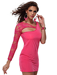 Charming Lady Lace & Silk Fuschia Nightclub Sexy Party Uniform