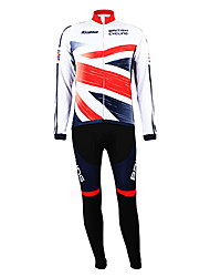 KOOPLUS® Cycling Jersey with Bib Tights Men's Long Sleeve BikeBreathable / Thermal / Warm / Fleece Lining / Moisture Permeability /