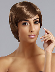 Side Bangs Short Straight Hair Wig(Light Brown)