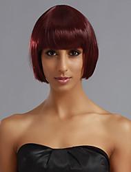 Full Bangs Short Straight Bob Hair Wig(Auburn Red)