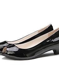 Bajo tacón peep toe zapatos de las sandalias del cuero de patente de las mujeres