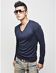 Men's Fashion V-Neck Cotton Long Sleeve T-shirt