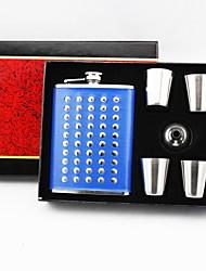 Gift Groomsman /Bridesmaid 6 Pieces Rivet 8-oz Flask Gift Set (More Colors)