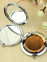 Personalizado Padrão Presente Coração Chrome espelho compacto