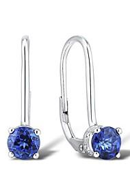 Classique Créé Saphire et diamants naturels Sterling Silver Earring Hook Wiht clip Retour