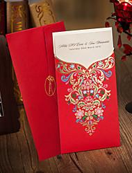 Red Wrap&Pocket Wedding Invitation - Set of 50