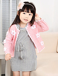 Flor mangas compridas de malha casaco de lã da menina