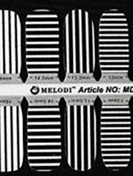 14PCS plein pointe Black & White Stripe Nail Art Stickers muraux