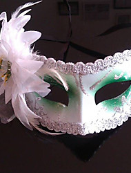 Green And White Feather Folwer purfle Plastic Half-Gesichtsmaske