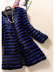 3/4 Sleeve Collarless Mink Fur Party/Casual Coat