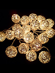 Ivory White Handmade Rattan Balls String Lights for Fairy Party & Patio Decor Party(20 PCS)