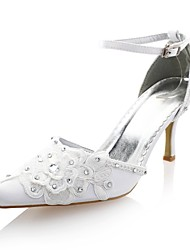 Women's Spring Summer Fall Platform D'Orsay & Two-Piece Satin Wedding Party & Evening Stiletto Heel Rhinestone Stitching Lace Ivory