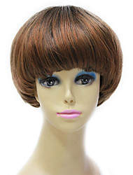 Capless Synthetic Short Brown Straight Short Bob Hair Wig