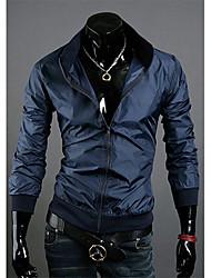 Shangdu Moda gola Slimming Jacket (azul marinho)