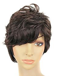 Dark Brown Short Curly Hair Wig Capless Synthetic Hair Men Wig
