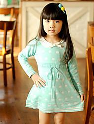 Puntos de manga larga de punto vestido de la muchacha