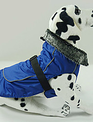 Dog Coat Red / Blue / Black Dog Clothes Winter Solid Waterproof / Keep Warm