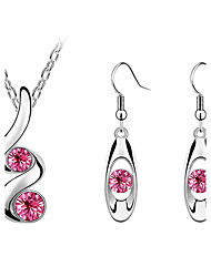 Sweet Silver Plated (Earrings & Necklaces) Crystal Jewelry Sets (More Color)