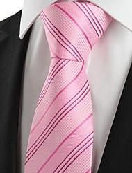 De cravate de cadeau de noce de vacances de New rayé rose Hommes Jacquard
