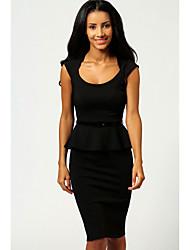 6 colores de la nueva manera de las mujeres blancos y negros de longitud de la rodilla Peplum Bodycon de OL Office Lady ropa informal con Cinturón