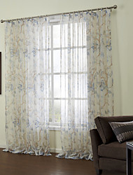 Country Two Panels Floral  Botanical Blue Bedroom Sheer Curtains Shades